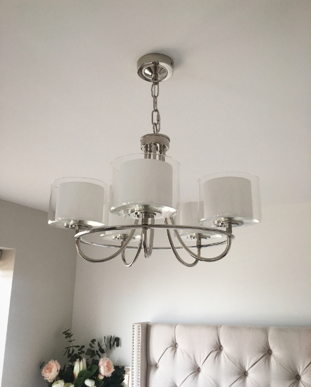 Laura Ashley 5 Arm Chandelier, home ideology, bedroom lighting, master bedroom inso