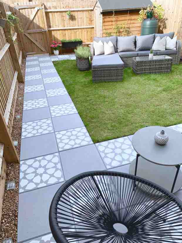 diy stencil concrete garden paving slabs
