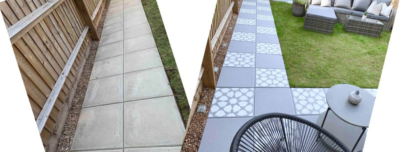Before and after DIY paving slab stencilling