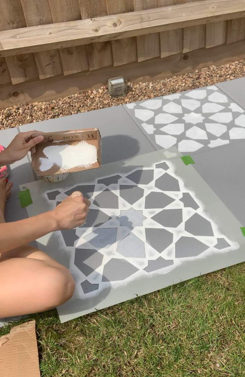stenciling patio paving slabs